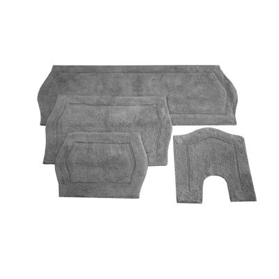 Waterford 4-Pc. Bath Rug Set Blue by Home Weavers Inc in Grey (Size 4 RUG SET)