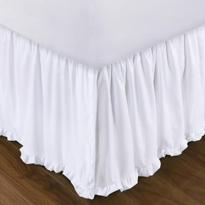 """Burlap Bed Skirt 15"""" by Greenland Home Fashions in White (Size KING)"""