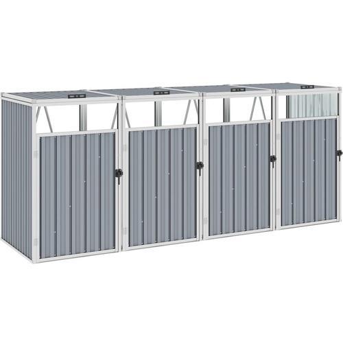 Youthup - Mülltonnenbox für 4 Mülltonnen Grau 286×81×121 cm Stahl
