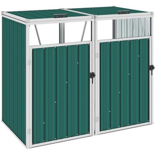 Mülltonnenbox für 2 Mülltonnen Grün 143×81×121 cm Stahl - Youthup