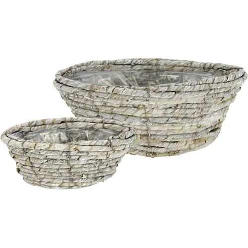 I.GE.A. Weidenkorb Weidenkorb, 2er Set grau Pflanzgefäße Blumenvasen Wohnaccessoires