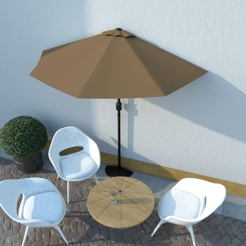 vidaXL Balkon-Sonnenschirm mit Alu-Mast Taupe 270×135 cm Halbrund