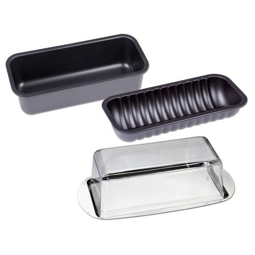 CHG Backform, (Set, 4 St.), Servier-/Frischhalte-Set schwarz Backformen Backbleche Kochen Backen Haushaltswaren Backform