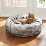 Frisco Fur Donut Cat & Dog Pillow Bed, Gray, X-Small