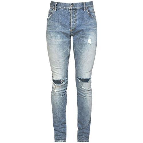 Balmain 15cm Abgetragene, Enge Jeans Mit Stickerei