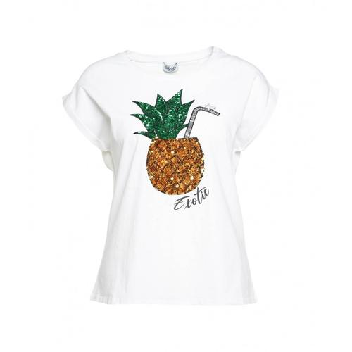 Liu Jo Damen T-Shirt Exotic Weiß