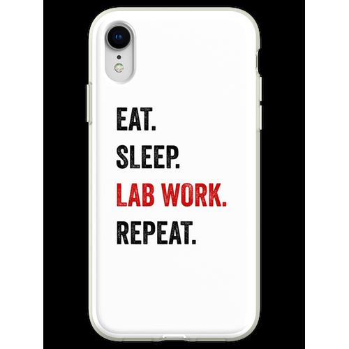Essen Sie Schlaflaborarbeit Wiederholen Sie Labortechniker lustig Flexible Hülle für iPhone XR