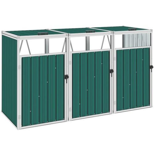 Mülltonnenbox für 3 Mülltonnen Grün 213×81×121 cm Stahl