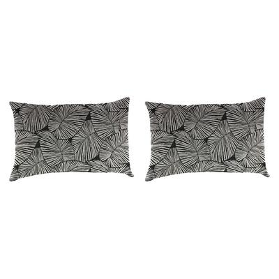 Outdoor Lumbar Accessory Throw Pillows, Set of 2-TALIA NOIR RICHLOOM - Jordan Manufacturing 9965PK2-6553D