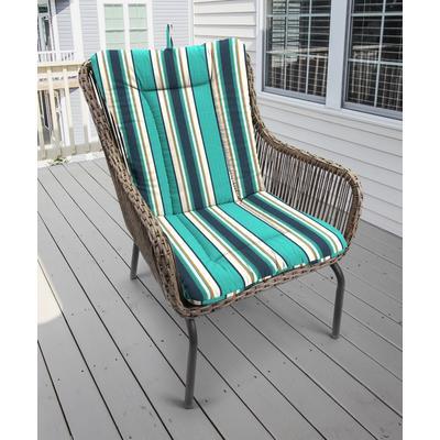 Outdoor Knife Edge Euro Style Chair Cushion- Sunbrella TOKEN SURFSIDE GLEN RAVEN - Jordan Manufacturing 9040PK1-3568L