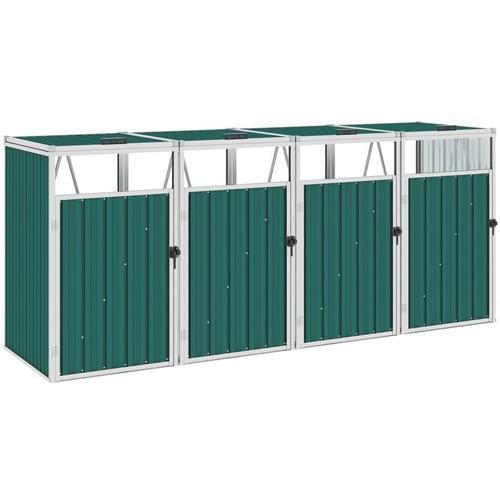 Vidaxl - Mülltonnenbox für 4 Mülltonnen Grün 286×81×121 cm Stahl