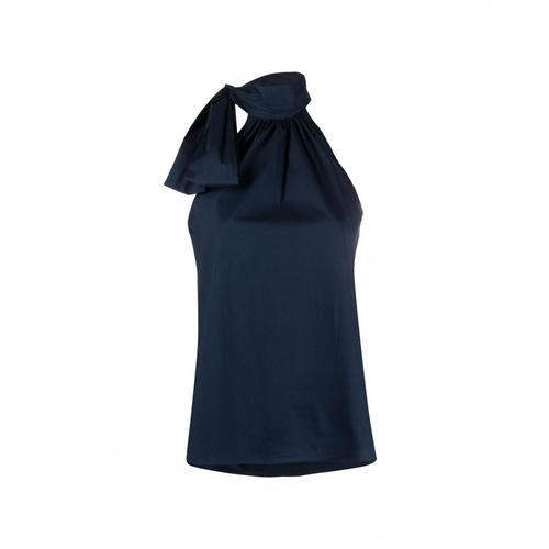 Michael Kors Damen Bluse mit Schleife Blau