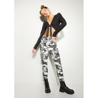 Rue21 Womens Gray Camo Print Ruched Ankle Cargo Pants - Size S
