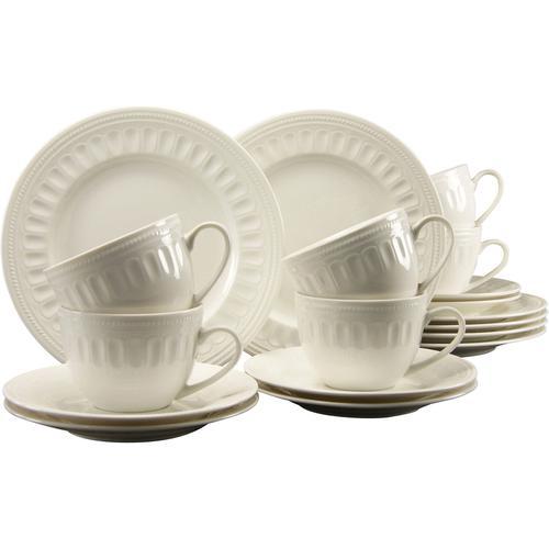 CreaTable Kaffeeservice Toledo, (Set, 18 tlg.), mit klassischem Relief weiß Geschirr-Sets Geschirr, Porzellan Tischaccessoires Haushaltswaren