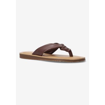 Wide Width Women's Cov-Italy Sandal by Bella Vita in Brown Italian Leather (Size 10 W)