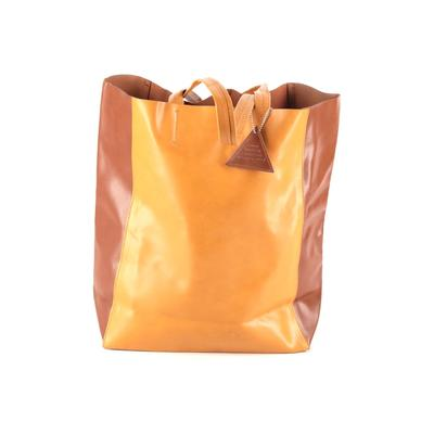 Sorial Leather Tote Bag: Brown Solid Bags