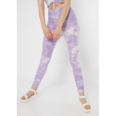 Rue21 Womens Purple Tie Dye Honeycomb Ruched Back Leggings - Size S