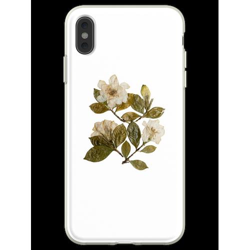 Gepresste Gardenien, Gardenia Blumen, Gardenia Kunst, Gardenia Coll Flexible Hülle für iPhone XS Max