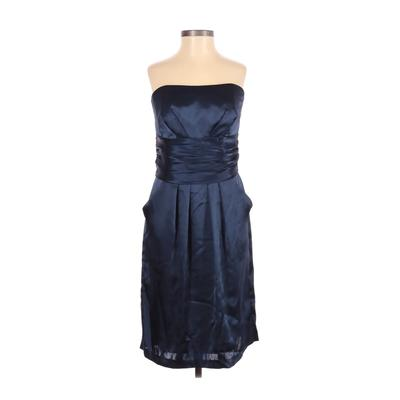 David's Bridal Cocktail Dress - Party: Blue Solid Dresses - Used - Size 6