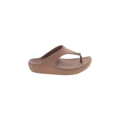 Crocs Flip Flops: Tan Solid Shoes - Size 7
