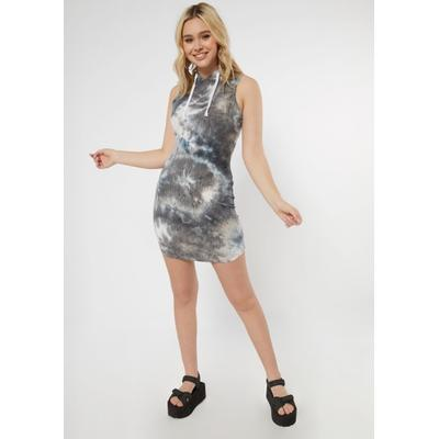 Rue21 Womens Gray Tie Dye Ribbed Hooded Bodycon Dress - Size Xs