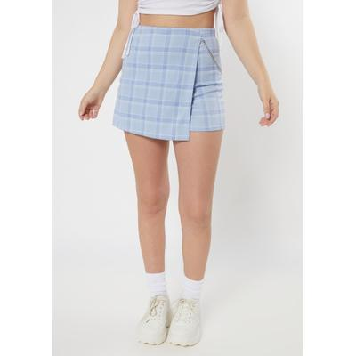 Rue21 Womens Blue Plaid Print Chain Skort - Size L