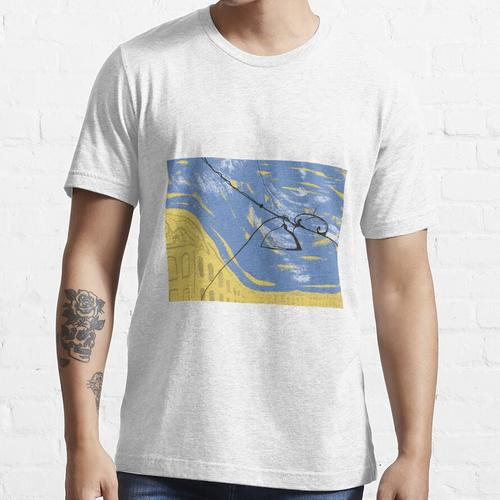 Drähte und eine Laterne auf dem Hintergrund der Stadt Essential T-Shirt