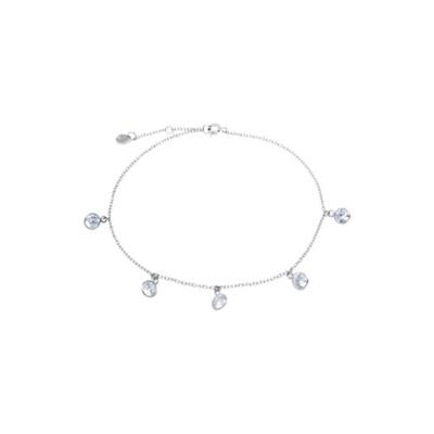 Belk Silverworks Silver Sterling Silver Multi Cubic Zirconia Circle Charm Anklets