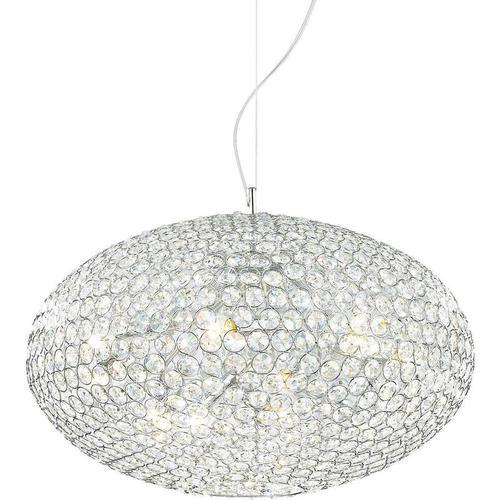 01-ideal Lux - Chromanhänger aus ORION Kristall 8 Glühbirnen