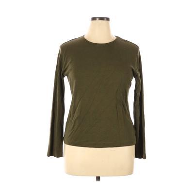 Jones Wear - Jones Wear Long Sleeve T-Shirt: Green Solid Tops - Size X-Large