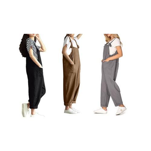 Ärmelloser Damen-Jumpsuit: Khaki/ Gr. 38