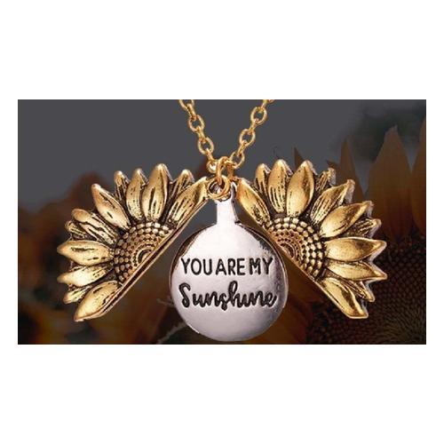 Halskette mit Sonnenblumen-Anhänger: Silber / 2