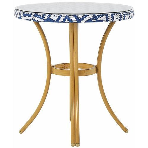 Beliani - Gartentisch mit blauem und weißem Muster Rattan ø 70 cm Balkon Terrasse Garten