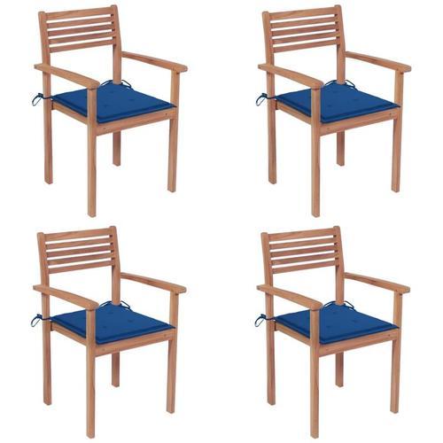 Vidaxl - Gartenstühle 4 Stk. mit Königsblauen Kissen Massivholz Teak
