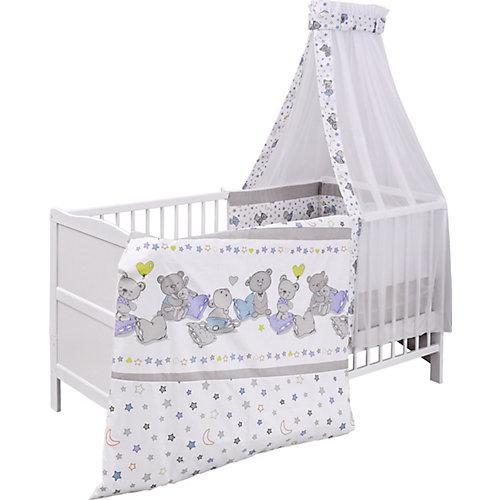 Kinderbett komplett, Kiefer weiß, teilmassiv, Bärchen, 70x140cm