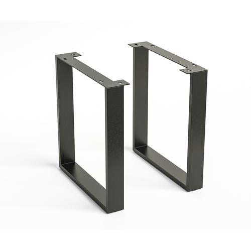 DELIFE Tischgestell Edge Metall Schwarz Schmal (2-er Set), Gestelle