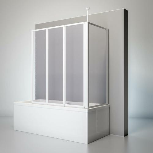 Duschwand Well mit Seitenwand, 129 x 140 x 70 cm, 3-teilig faltbar, Kunstglas Tropfen-Dekor,