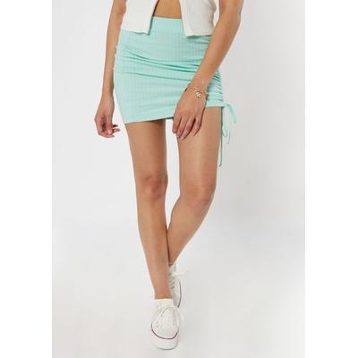 Rue21 Womens Light Green Ribbed Ruched Mini Skirt - Size S