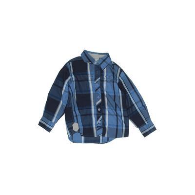 Raider Authentic Custom Long Sleeve Button Down Shirt: Blue Plaid Tops - Size 5