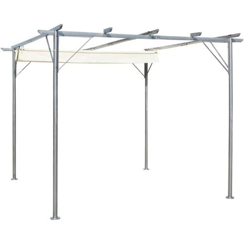 Pergola mit Versenkbarem Dach Cremeweiß 3x3 m Stahl