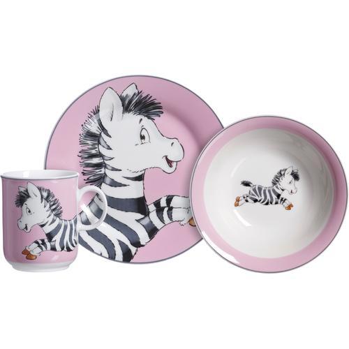 Ritzenhoff & Breker Kindergeschirr-Set Happy Zoo, Zoe, (Set, 3 tlg.), mit Zebra-Dekor bunt Kinder Kindergeschirr Geschirr, Porzellan Tischaccessoires Haushaltswaren