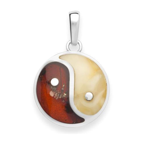Anhänger - Yin-Yang - Silber 925/000 - Bernstein OSTSEE-SCHMUCK silber