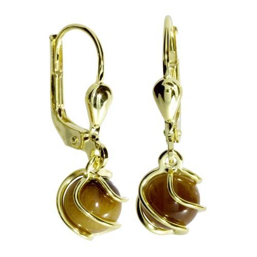 Ohrhänger - Goldkäfig - Gold 333/000 - Tigerauge OSTSEE-SCHMUCK gold