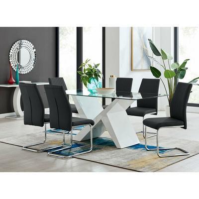 Furniturebox Uk - Torino White High Gloss And Glass Modern Dining Table And 6 Black Lorenzo Chairs
