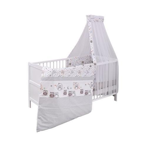 Kinderbett komplett, Kiefer weiß, teilmassiv, Eule mit Sternen, 70x140cm