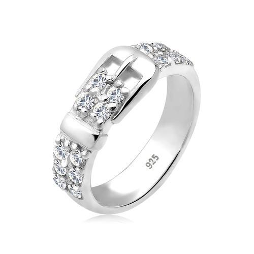 Ring Gürtel Kristalle 925 Silber Elli Weiß