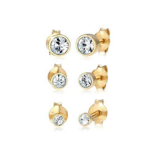 Ohrringe Stecker Set Kristalle Basic 925 Silber Elli Gold