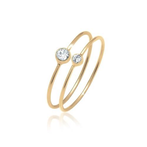 Ring Set Basic Trend Kristalle 925 Silber Elli Gold