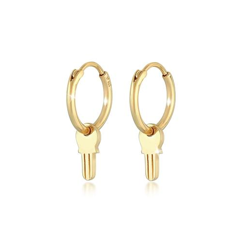 Ohrringe Creolen Schüssel Anhänger 925 Silber Elli Gold