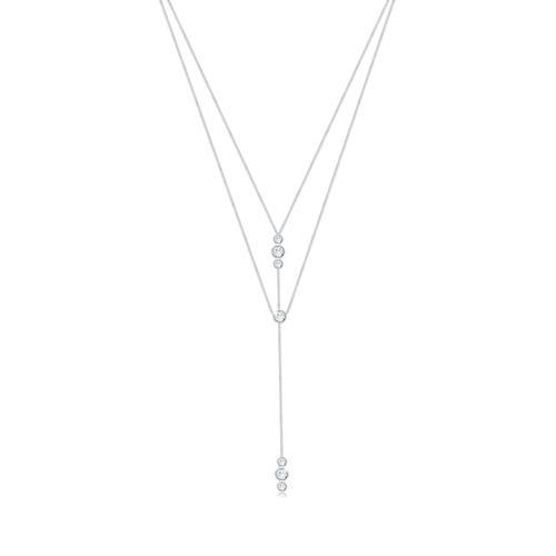 Halskette Y-Kette Geo Layer Kristalle 925 Silber Elli Silber